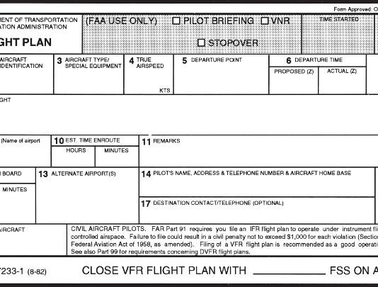 vfr flight plan